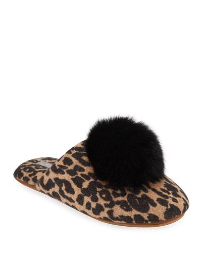 Leopard-Print Cashmere Fox Fur-Trim Slippers