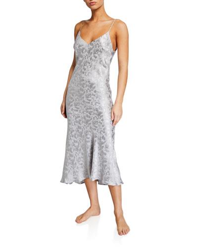 Silk Jacquard Midi Nightgown