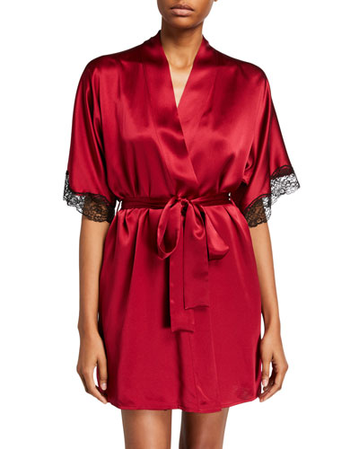 Bijoux Silk Short Robe w/ Lace Trim