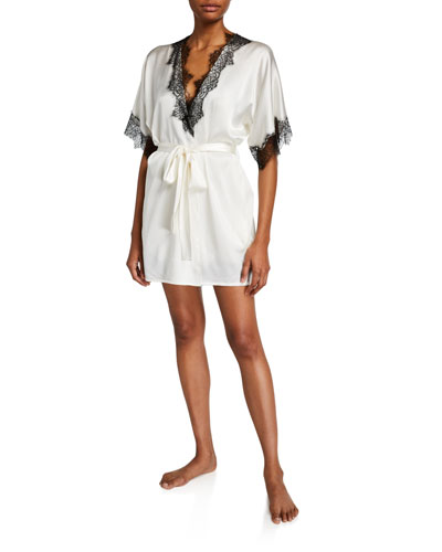Arabella Lace-Trim Short Robe