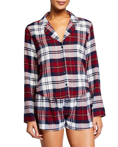 Kellen Plaid Long-Sleeve Short Pajama Set
