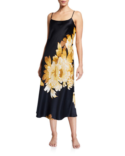 Opulent Floral-Print Satin Nightgown