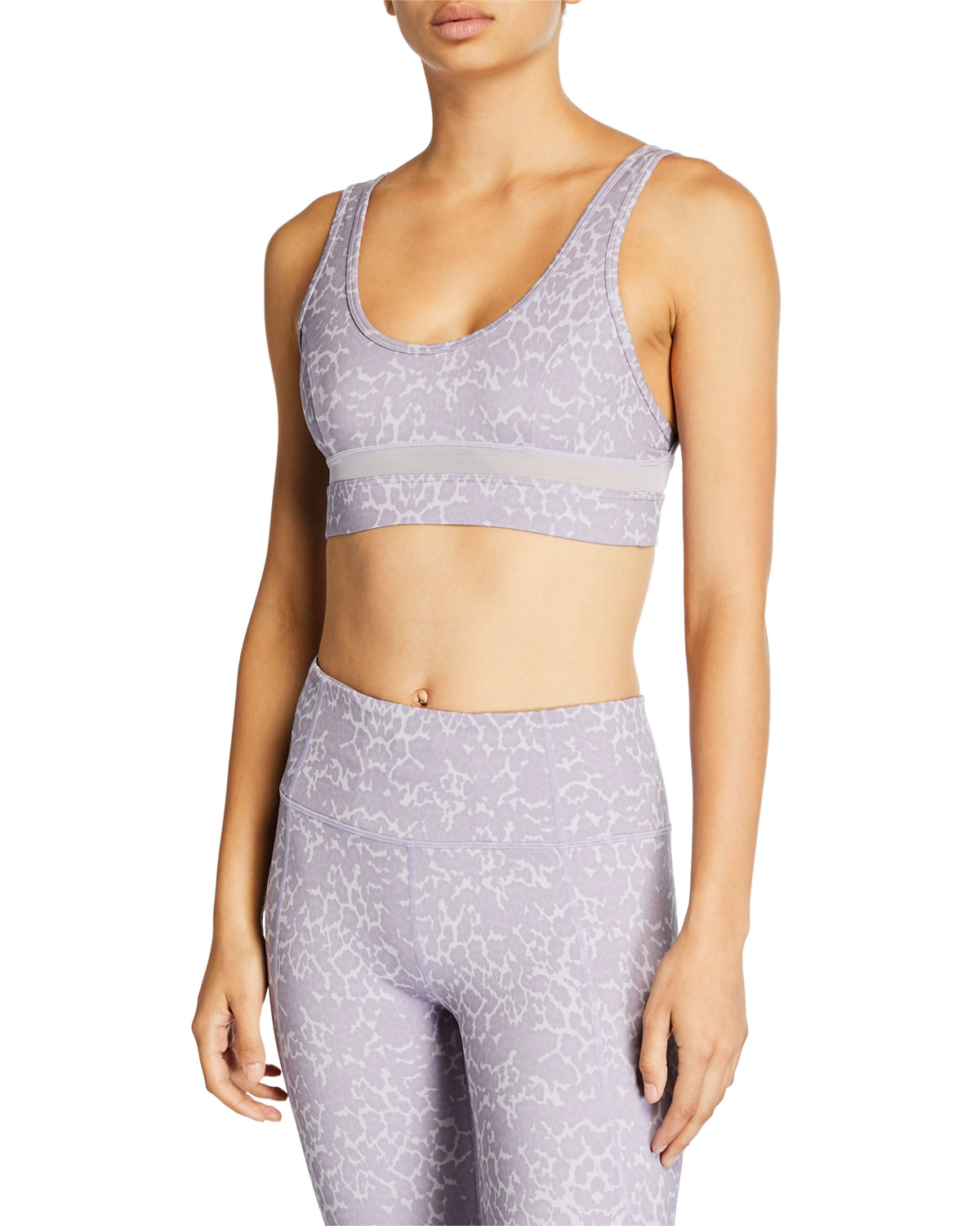 Varley Tops WILLOW LEOPARD-PRINT MESH SPORTS BRA
