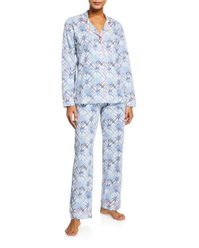 Plus Size Geometric-Print Classic Pajama Set