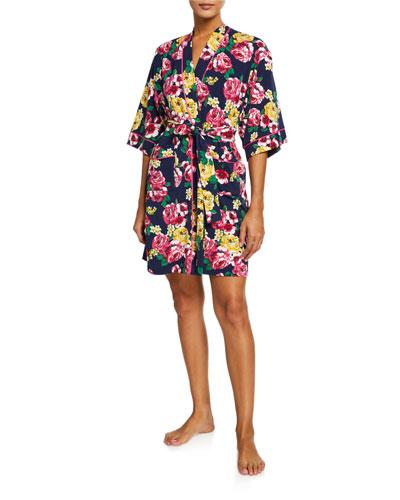 Floral-Print Kimono Robe