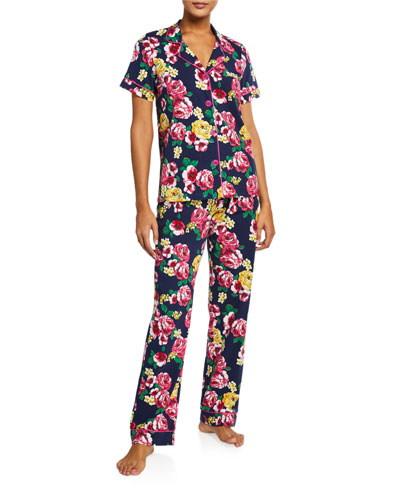 Floral-Print Short-Sleeve Classic Pajama Set