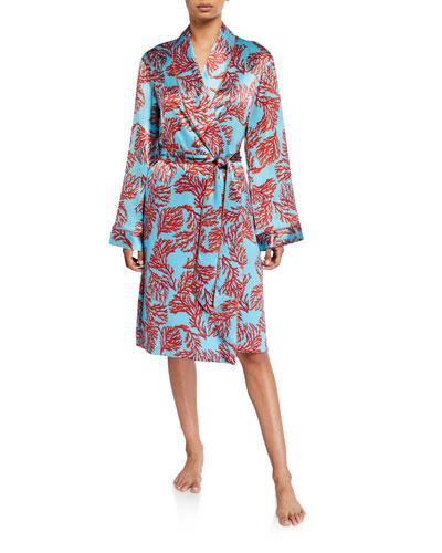 Coral-Pattern Silk Robe