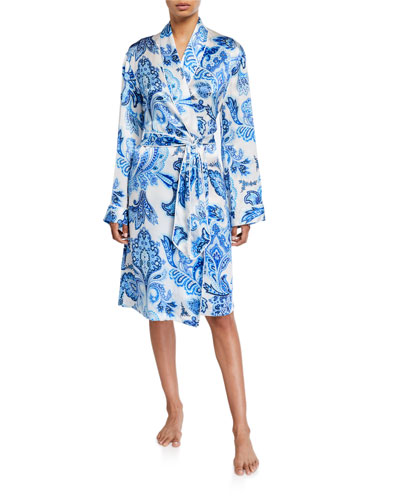 Paisley Print Silk Robe