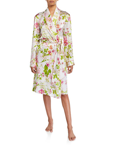 Floral-Print Silk Robe