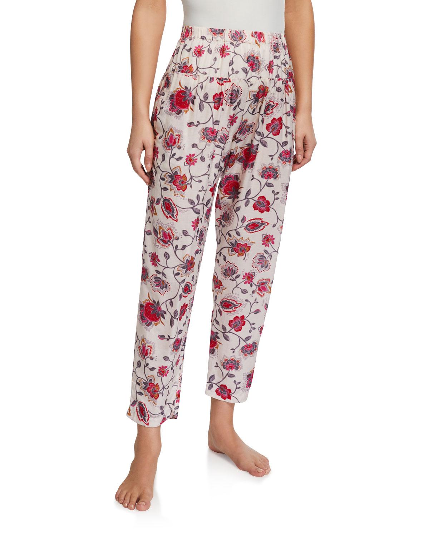 Xirena Pants PEYTON FLORAL-PRINT HIGH-WAIST LOUNGE PANTS