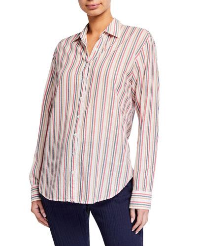 Beau Striped Button-Down Lounge Shirt