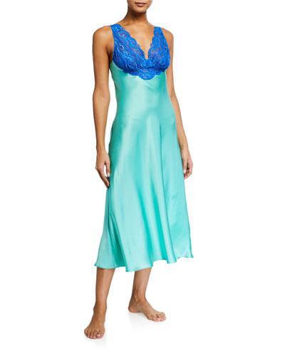 Bijoux Lace-Trim Silk Nightgown