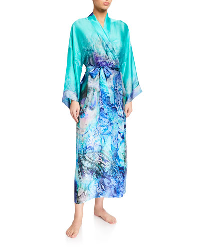Floral Ombre Silk Long Robe