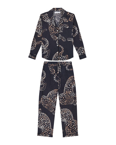 The Navy Jag Print Cotton Long Pajama Set
