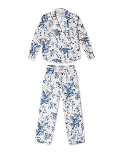 Parrot Printed Cotton Long Pajama Set
