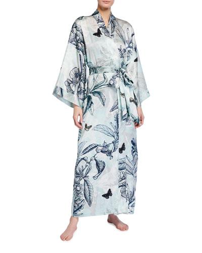 Botanical Print Long Silk Robe