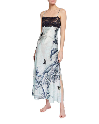 Botanical Print Lace-Bust Nightgown