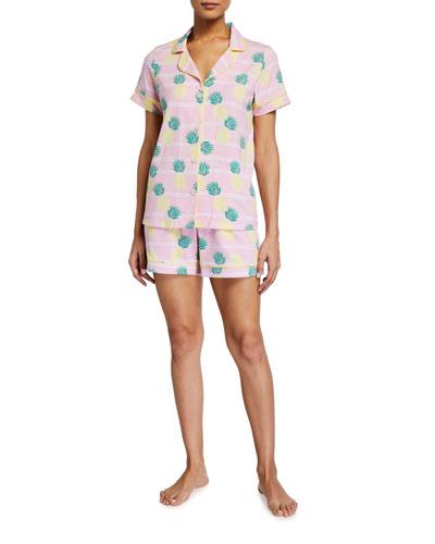 Pineapple Stripe Shortie Pajama Set