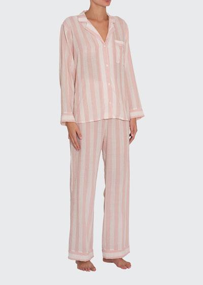 Umbrella Stripes Woven Long Pajama Set