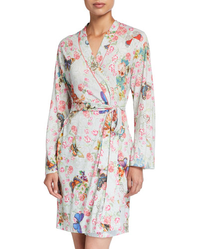 Butterfly Print Knit Robe