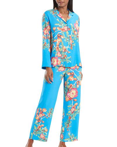 Cyprus Floral Print Notch-Collar Classic Pajama Set