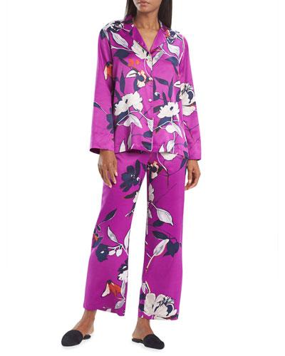 Odessa Floral Printed Satin Pajama Set
