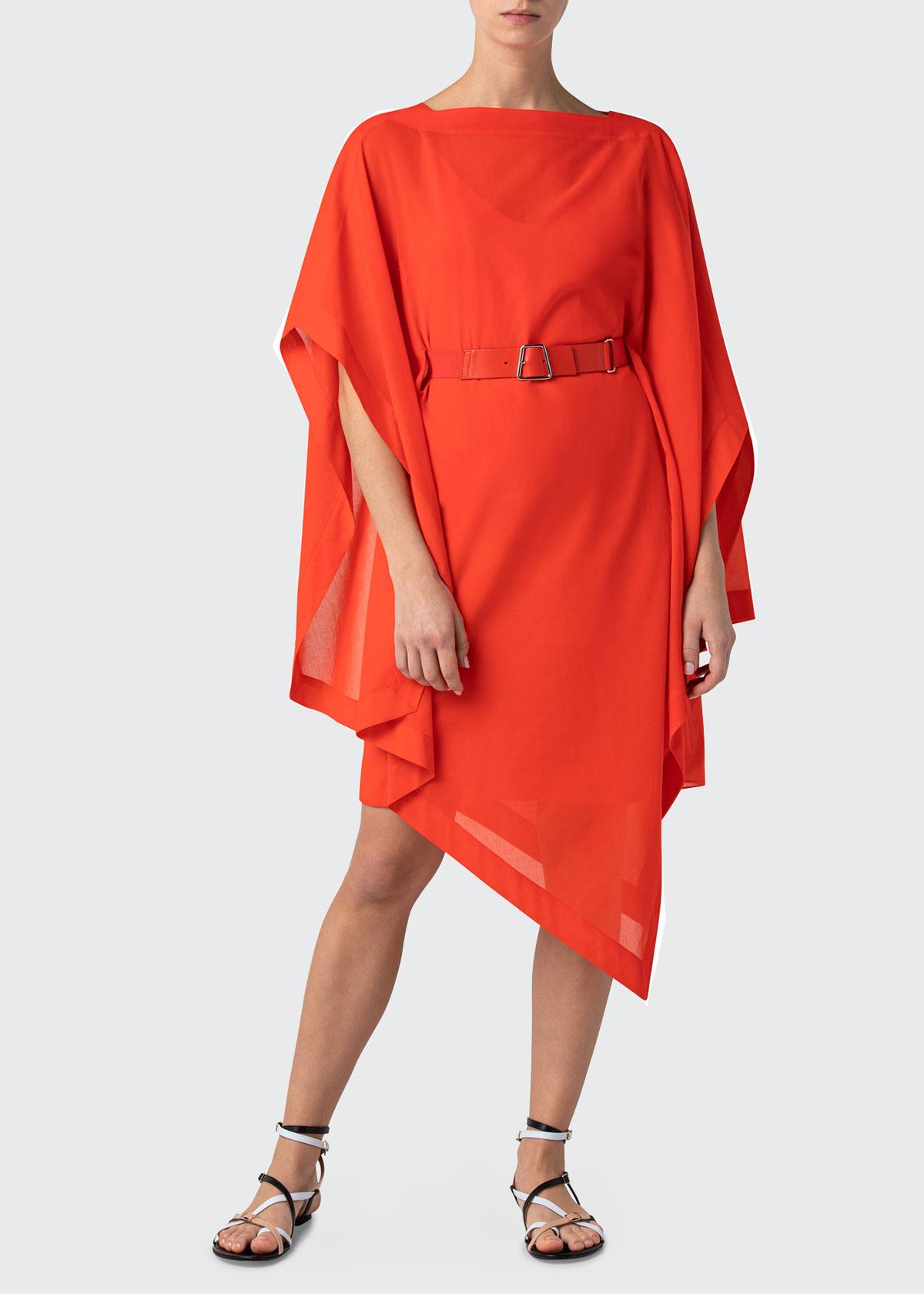 Akris Cottons SHORT CAFTAN DRESS WITH ASYMMETRIC HEM