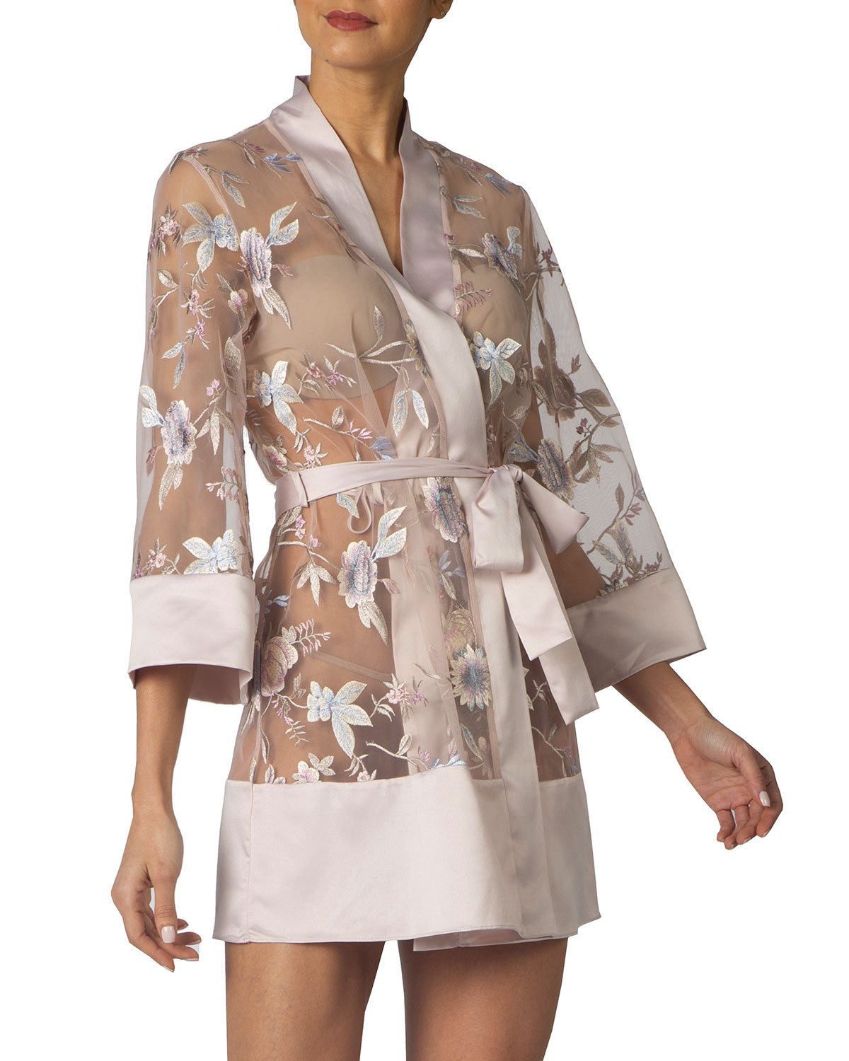 Rya Collection STUNNING FLORAL-EMBROIDERED COVER-UP ROBE