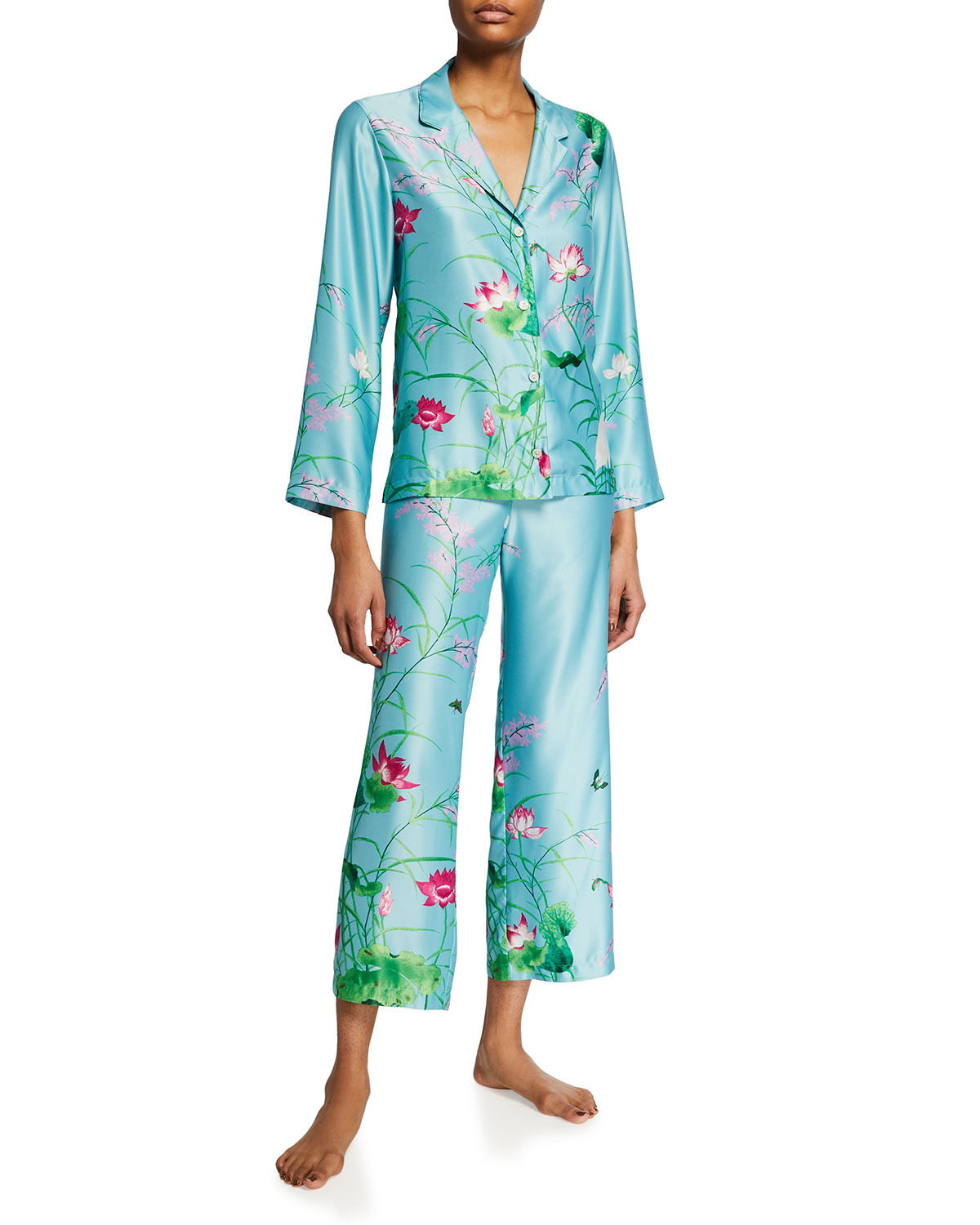 Natori LOTUS GARDEN NOTCH-COLLAR SATIN PAJAMA SET