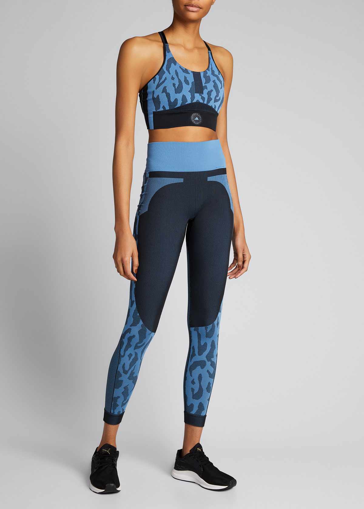 Adidas By Stella Mccartney TRUEPURPOSE CRISSCROSS ANIMAL-PRINT SPORTS BRA