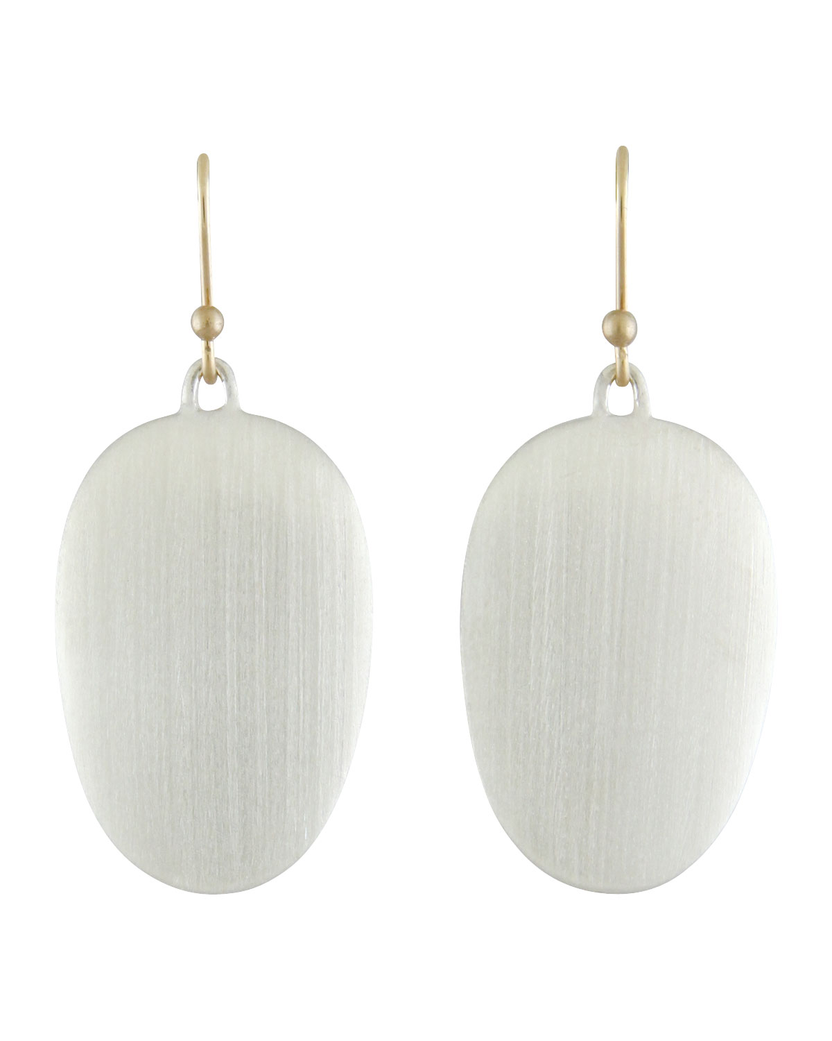 TED MUEHLING LARGE BRUSHED SILVER CHIP EARRINGS