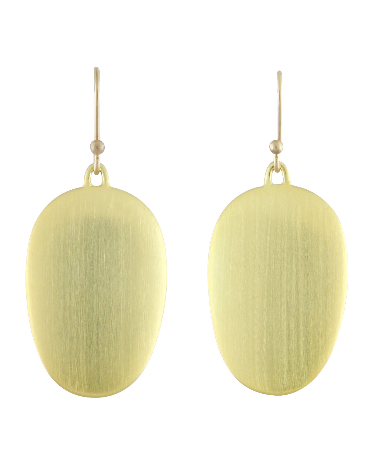 TED MUEHLING LARGE BRUSHED GREEN GOLD CHIP EARRINGS