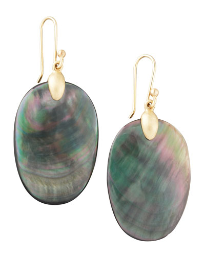 Large Black Mother-of-Pearl Chip Earrings