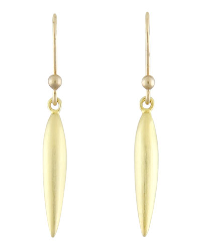 Small Brushed Green Gold Rice Earrings