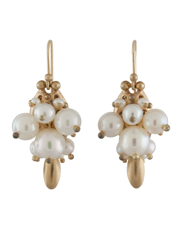 TED MUEHLING White Pearl Bug Earrings