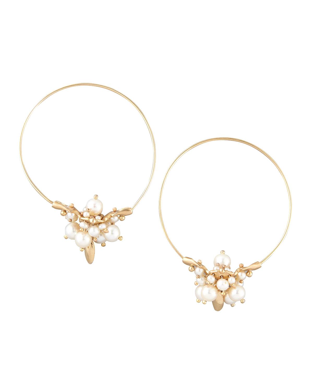 TED MUEHLING Pearl Cluster Hoop Earrings