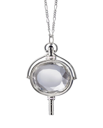 Large Silver Pocket Watch Key Rock Crystal Necklace