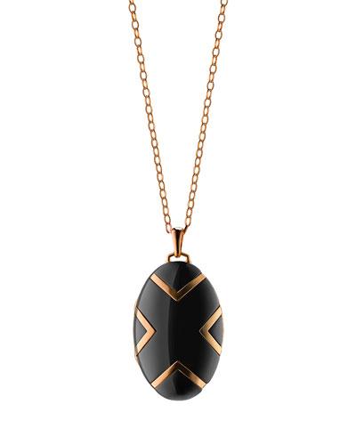 18k Black Ceramic Oval X Locket, 30