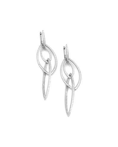 Pavé White Diamond Thorn Link Earrings