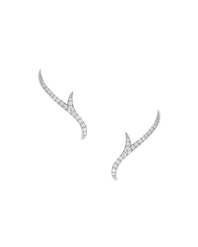 18K White Gold Pavé Diamond Thorn Earrings