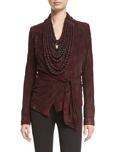 High-Neck Leather Tribal Bead Necklace, Wine