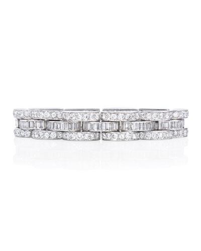 Estate Retro Diamond Tank Bracelet in Platinum