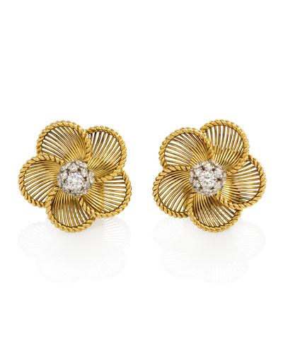 Estate Cartier 18K Gold & Diamond Convertible Earrings/Brooches