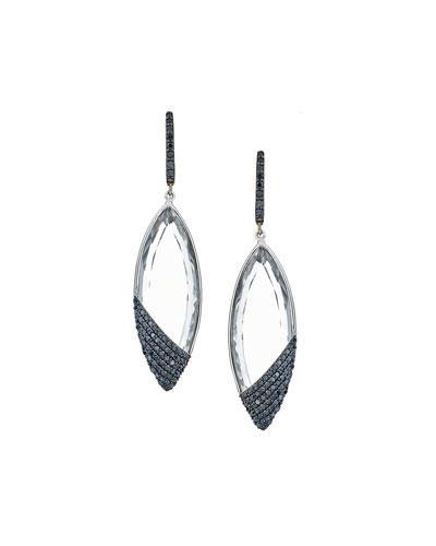 14k Reckless Black Diamond Crystal Marquise Drop Earrings
