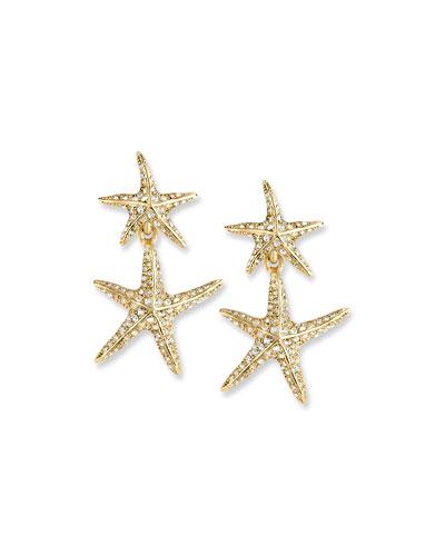 Sea Star Golden Drop Earrings