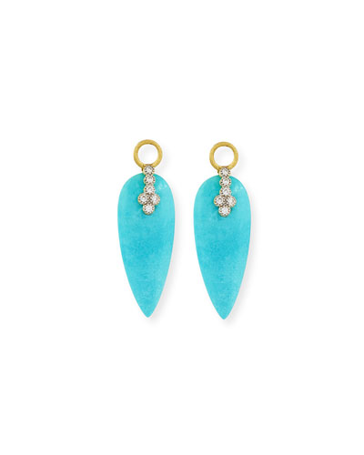 JUDE FRANCES Provence Champagne Diamond & Turquoise Teardrop Earring Charms in Gold Turquoise