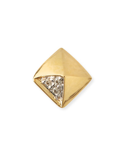 Gold & Diamond Pyramid Single Stud Earring
