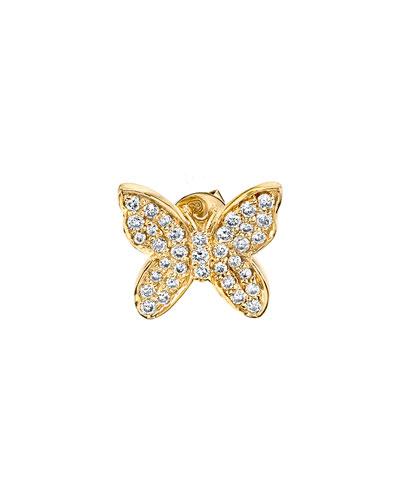 14k Diamond Butterfly Single Stud Earring