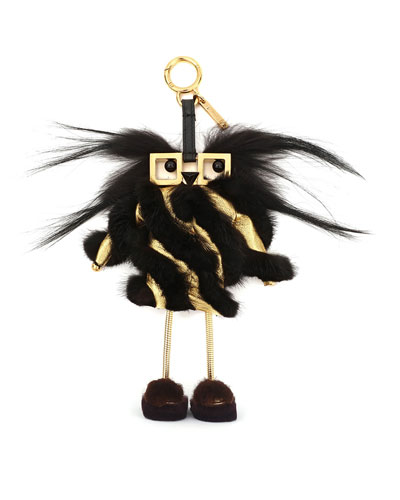 Fendi Witches Power Bank Fur Charm for Handbag, Black/Gold