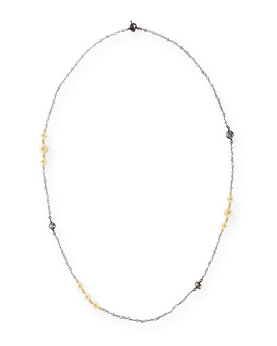 Old World Mystic Moonstone & Keshi Pearl Station Necklace